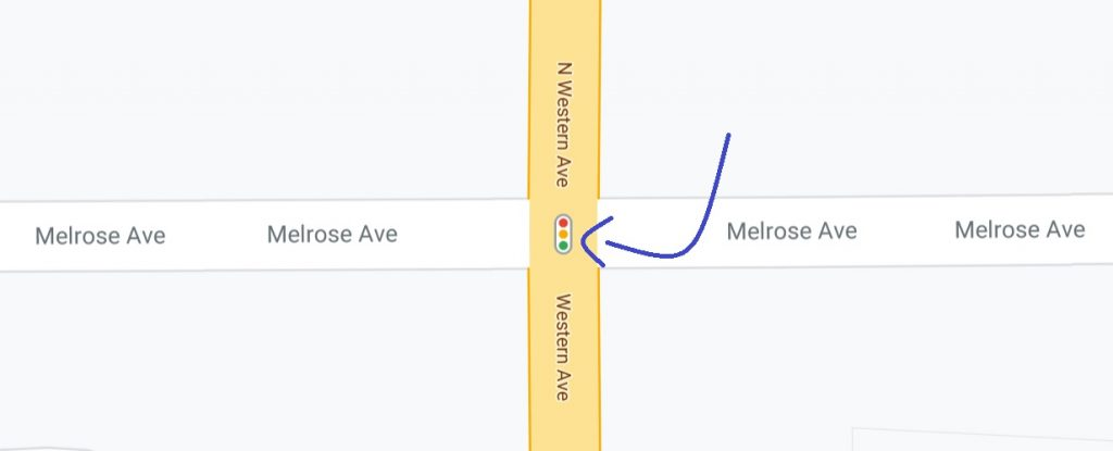 Example of new traffic lights icon in Google Maps